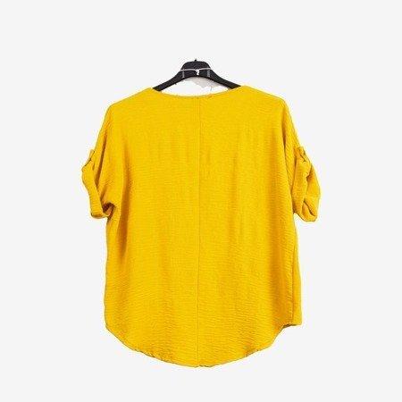 Żółta damska bluzka z krótkim rękawem - Odzież