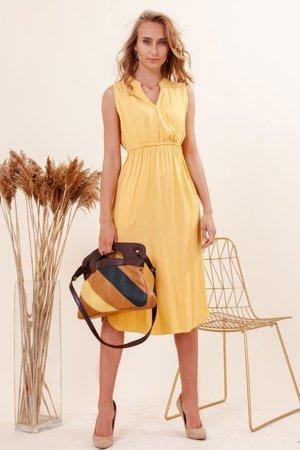 Żółta damska sukienka Midi - Odzież