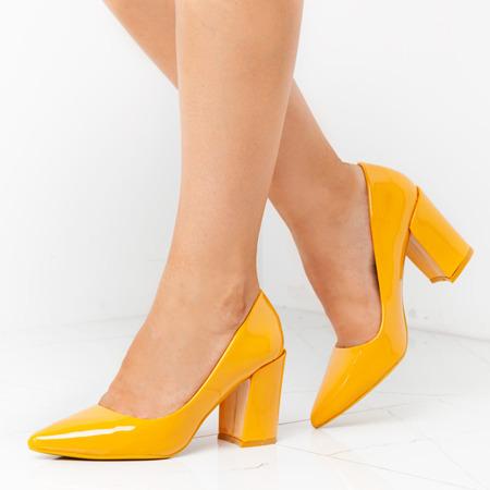 Żółte czółenka na wysokim słupku Casilda - Obuwie