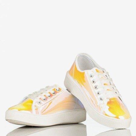 Żółte holograficzne tenisówki na platformie Insane - Obuwie
