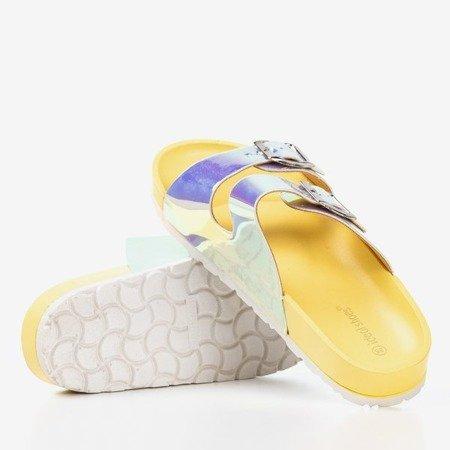 Żółte klapki z holograficznym wykończeniem Sumire - Obuwie