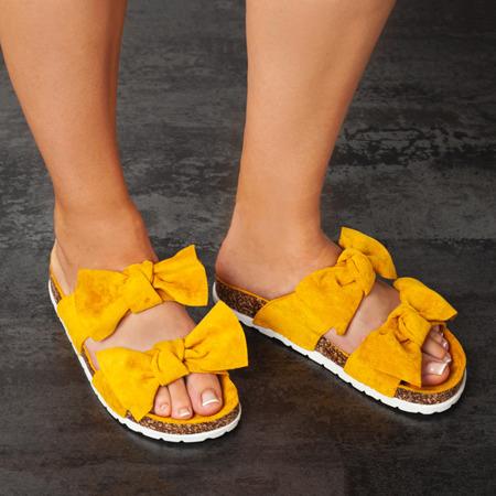 Żółte klapki z kokardką Marecia - Obuwie