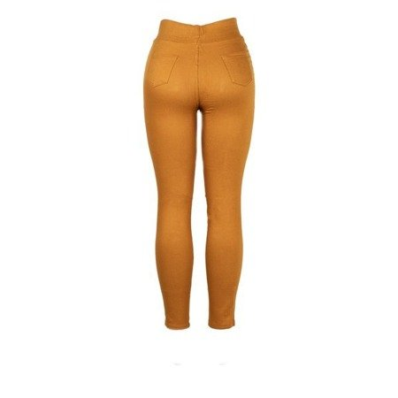 Żółte tregginsy z wysokim stanem - Spodnie