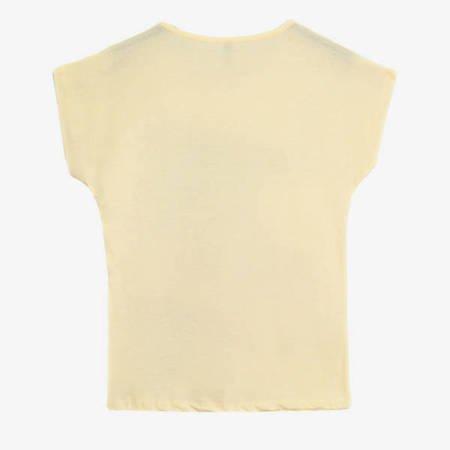 Żółty t-shirt damski z printem - Odzież