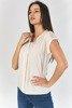 Beżowa bluzka z ażurową wstawką - Odzież