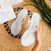 Białe sandały japonki z cyrkoniami Borra - Obuwie