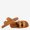 Brązowe damskie klapki z klamrami Selemaia - Obuwie
