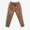 Brązowe spodnie dresowe z kokardą - Odzież
