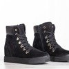Czarne sneakersy na krytym koturnie Paaterra - Obuwie