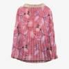 Różowa plisowana spódnica midi z printem w kwiaty - Odzież